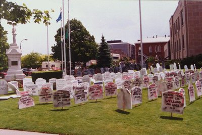 CAW's Graveyard Display Regarding Federal Cuts