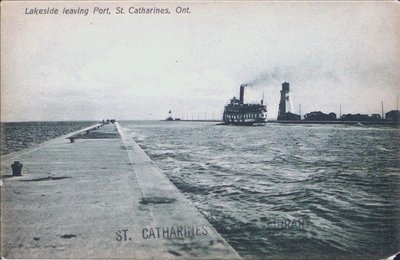 Steamer Lakeside leaving Port Dalhousie Pier