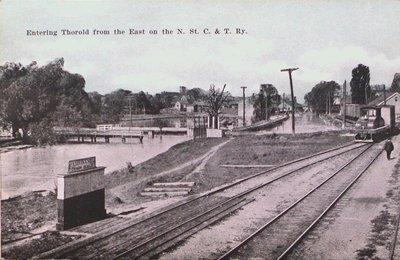 Entering Thorold on the Niagara, St. Catharines & Toronto Railway.
