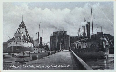 Freighters in Twin Locks on the Fourth Welland Canal