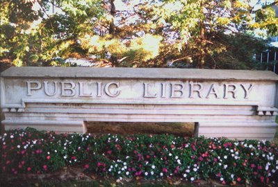 "The Old ""Public Library"" Stone Sign"