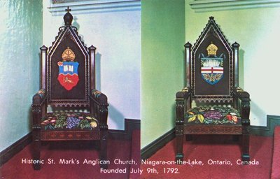 The Rector's Chair and the Bishop's Chair, St. Mark's Church, Niagara-on-the-Lake