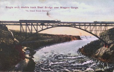 Single Arch Double Track Steel Bridge over Niagara Gorge