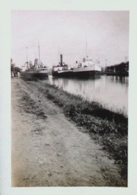 Ships at the Queenston Bridge on the Fourth Canal (Welland Ship Canal)