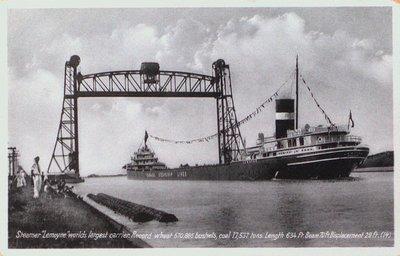 Steamer Lemoyne Passing Underneath the Lift Bridge at Port Robinson on the Welland Ship Canal