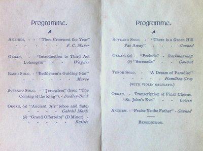 Teresa Vanderburgh's Musical Scrapbook #1 - A Program for an Organ Recital at Knox Presbyterian Church