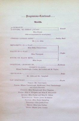 Teresa Vanderburgh's Musical Scrapbook # 1 - Program for a Piano Recital