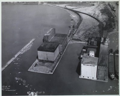 Port Colborne Showing Government Elevators and Maple Leaf Milling Co.