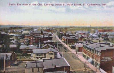Bird's Eye View of St. Catharines Looking Down St. Paul Street