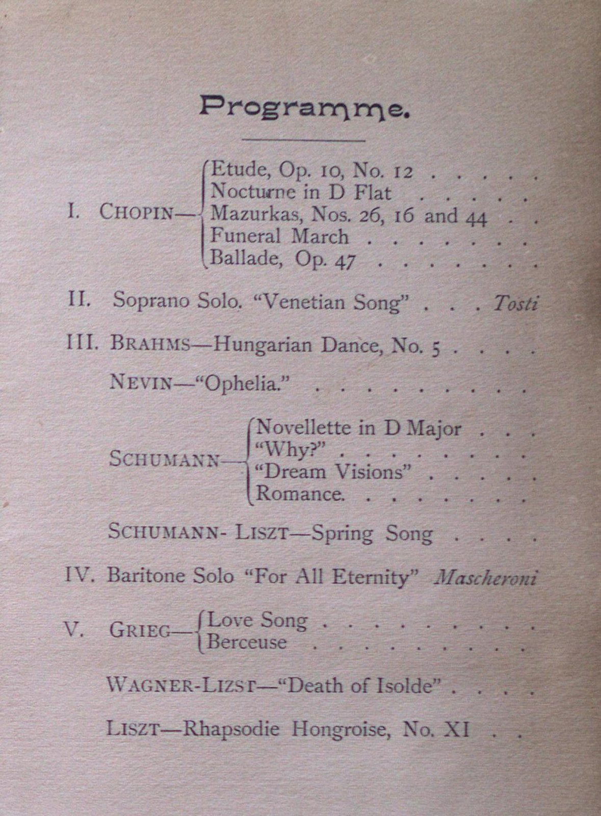 Teresa Vanderburgh's Musical Scrapbook #1 - Musical Circle Piano Recital Program