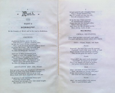 "Teresa Vanderburgh's Musical Scrapbook #1 - The Cantata ""Ruth"" Program"