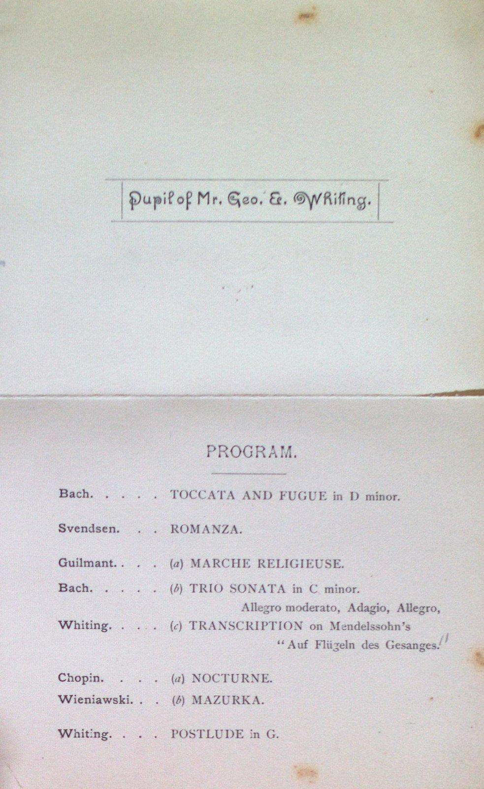 Teresa Vanderburgh's Musical Scrapbook #1 - Organ Recital Program