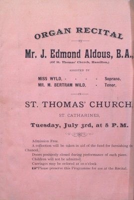 Teresa Vanderburgh's Musical Scrapbook #1 - Program for an Organ Recital given by Mr. J. Edmond Aldous