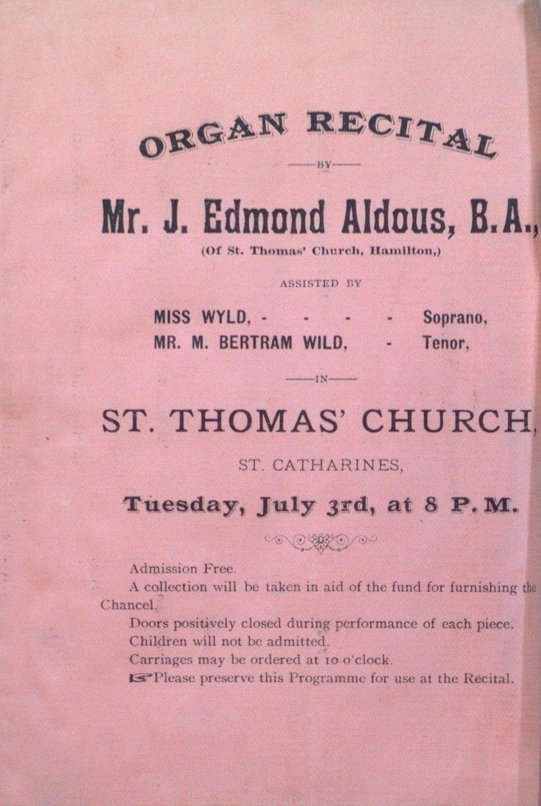 Teresa Vanderburgh's Musical Scrapbook #1 - Program for an Organ Recital given by Mr. J. Edmond Aldous