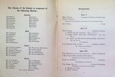 Teresa Vanderburgh's Musical Scrapbook #2 - Musical Art Society of New York - Concert Program