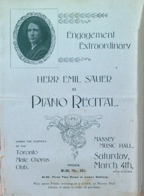 Teresa Vanderburgh's Musical Scrapbook #2 - Emil Sauer at Massey Music Hall