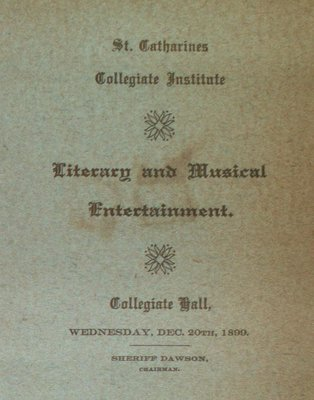 Teresa Vanderburgh's Musical Scrapbook #2 - Literary and Musical Entertainment at Collegiate Hall