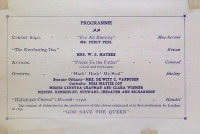 Teresa Vanderburgh's Musical Scrapbook #2 - Sacred Concert given by the Queen Street Baptist Church Choir