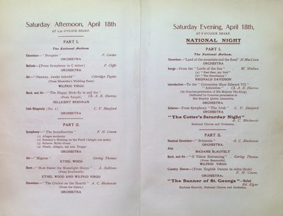 Teresa Vanderburgh's Musical Scrapbook #2 - Program for the First Cycle of Music Festivals