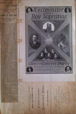 Teresa Vanderburgh's Musical Scrapbook #2 - Adelina Patti Newspaper Review and a Westminster Abbey Boy Sopranos' Program.