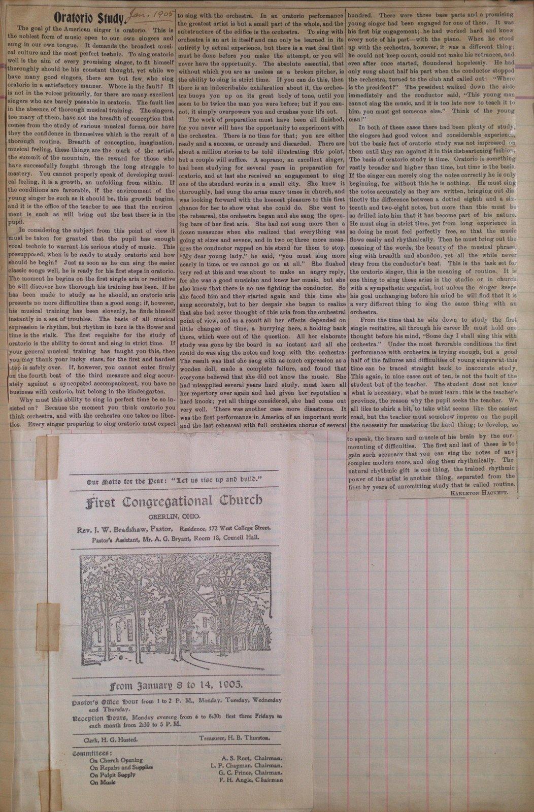 Teresa Vanderburgh's Musical Scrapbook #2 - Church Bulletin and an Article About Oratorio Study