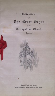 Teresa Vanderburgh's Musical Scrapbook #2 - Dedication of the Organ at the Metropolitan Church, Toronto
