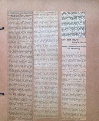Newspaper Articles Regarding Welland Avenue Church and Several Obituaries