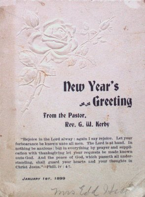 New Year's Greeting Card from the Pastor