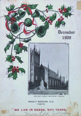 Christmas Card from the Pastor of Welland Avenue Methodist Church