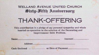 Welland Avenue United Church 65th Anniversary Offering Envelope