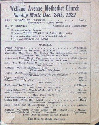 Welland Avenue Methodist Church Sunday Music