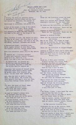 Welland Avenue Men's Club Song Sheet