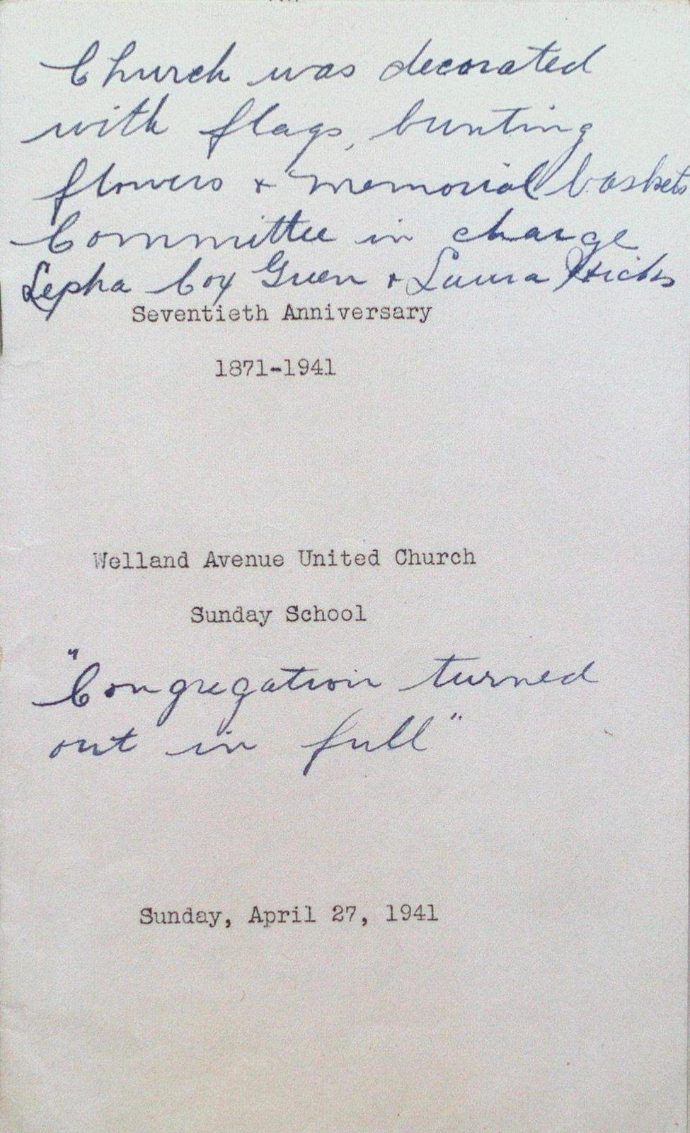 Welland Avenue United Church 70th Anniversary Celebrations