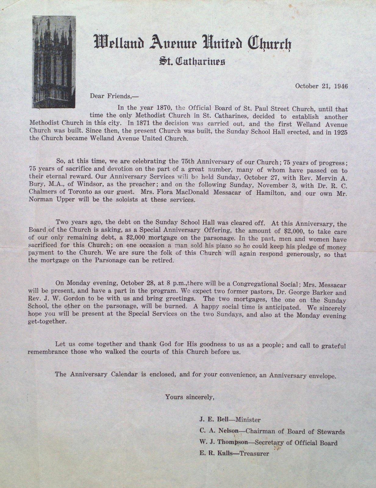 Welland Avenue United Church Anniversary Letter