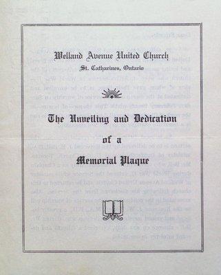 Welland Avenue United Church Memorial Plaque