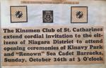 "Announcement for the Opening of Kinavy Park and ""Renown"" Sea Cadet Barracks"