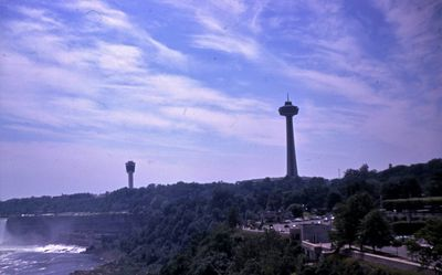 The Seagram Tower and the Skylon Tower in Niagara Falls, Ontario