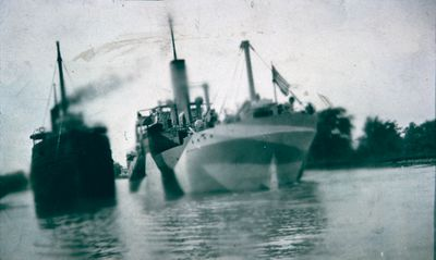 Wartime Ships Camouflaged in the Welland Canal