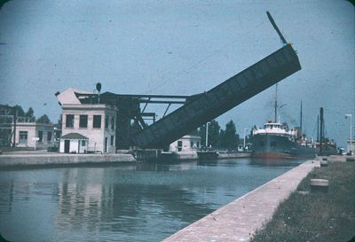 A Partially Raised Bascule Bridge on the Welland Canal