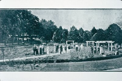 A Group Viewing the New Rose Garden