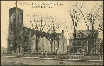 St. Francis de Sales Church & Presbytery, Smith's Falls, Ont. Postcard
