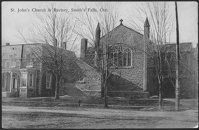 St. John's Church & Rectory, Smith's Falls, Ont. Postcard