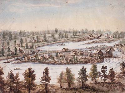 Smiths Falls Lock, Rideau Canada by John Burrows (1789-1848), ca. 1835
