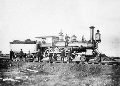 Canadian Pacific locomotive no. 349, before 1899, possibly Smiths Falls