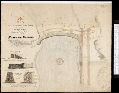 Plan of the Dam & Locks, Old Sly's Rapids, Smiths Falls, 1827