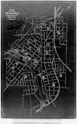 Plan of the Town of Smiths Falls shewing the Streets, Railroads, Highways and the Industrial Sites