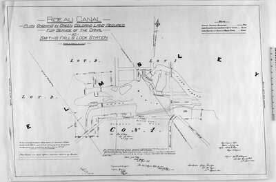 Rideau Canal. Plan showing in green coloring land required for the service of the canal at Smith Falls Lock Station...(signed) Josias Rickey, Provl. Surveyor, 25th April 1849. Royal Engineers Office, Bytown, 16th July 1849. (signed) Charles E. Ford, Capt. R. Engineers. True copy (Signed) W.F. Lambert, Lieut. Rl. Engr. 24th March 1851. Compard with the original (signed) H. Savage, Lt. R.E. 5th Aug. 1851. Copied by (signed) George Ranken, Lt. Rl. Engrs. 20th September 1851. Esamd. (sgd.) C.R. 25/9/52. (Signed) F.W. Whinyates [Whingates] Lt. Col. Commandg. R.E. 17th Septr. 1857