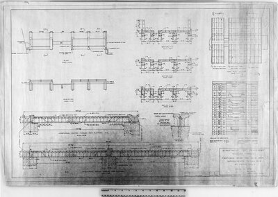 Rideau Canal. Proposed beam and slab deck improvements to dam no. 15 at Smiths Falls. Department of Transport, RC 6510. Rideau Canal Office, Ottawa, June 11, 1957.