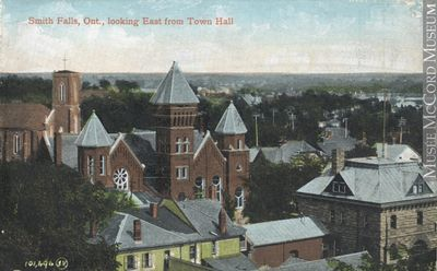 Looking east from Town Hall, Smith's Falls, about 1910