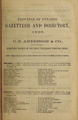 The Province of Ontario gazetteer and directory, 1869